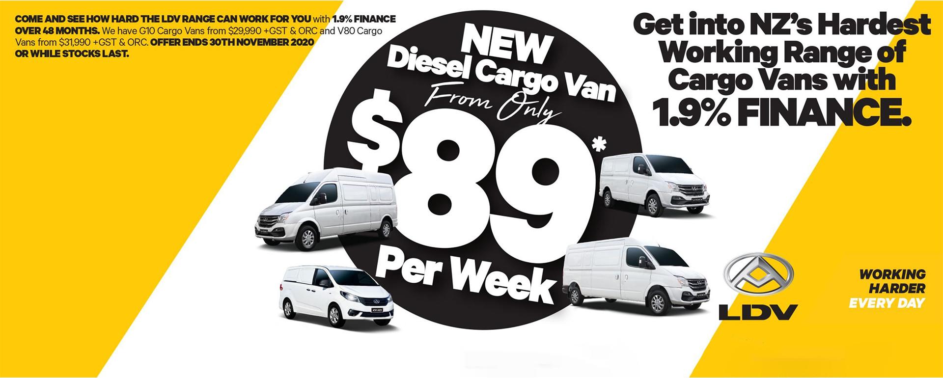 $89 Cargo Vans Banner